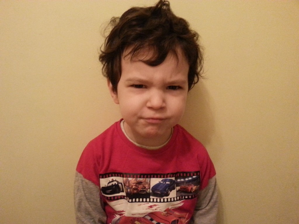 A grumpy toddler.