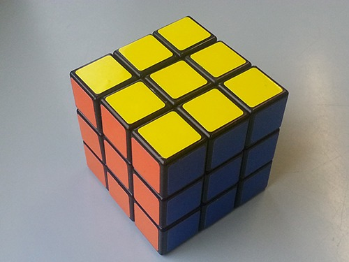 A completed Rubik's Cube.