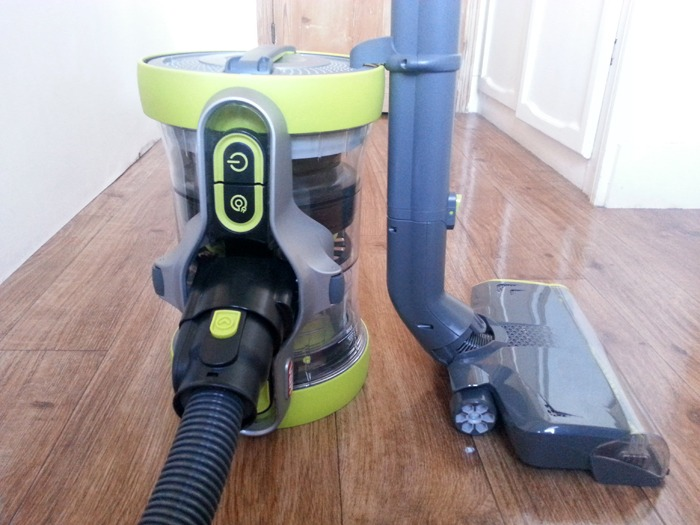A cylindrical vacuum cleaner.