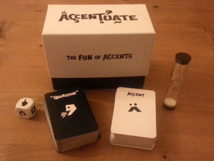 A game comprising a box, two decks of cards, a die and a timer.