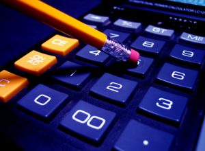 A calculator and pencil.