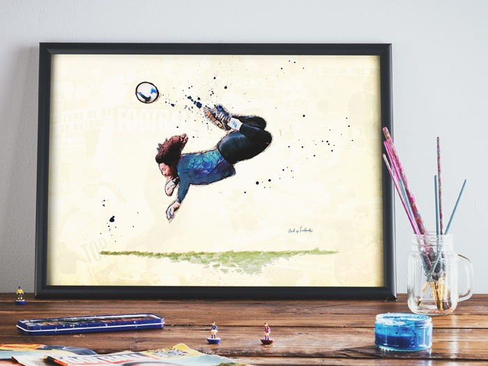 An Art of Football gift featuring the Scorpion Kick.