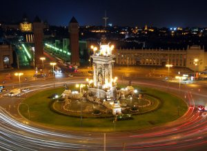 A view of Barcelona by night.