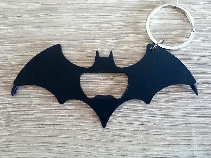 A bat-shaped keyring.