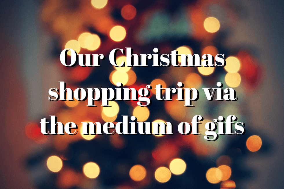 """A festive background with the words """"Our Christmas shopping trip via the medium of gifs"""" superimposed."""