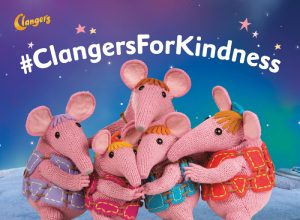 A picture of the Clangers with the Clangers for Kindness hashtag superimposed.