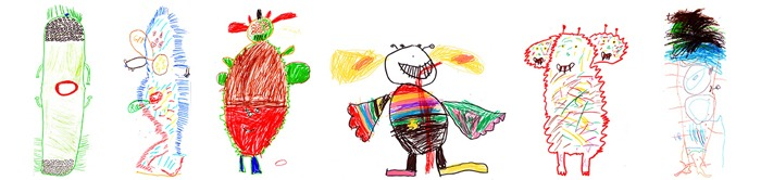 Children's drawings of monsters.