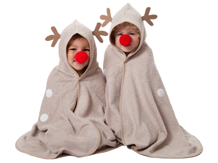 Two children wearing Cuddledeer bath towels by Cuddledry