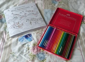 A colouring book, some pencils and a book voucher.