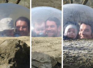 Three pictures of a dad with each of his children in a glass dome.