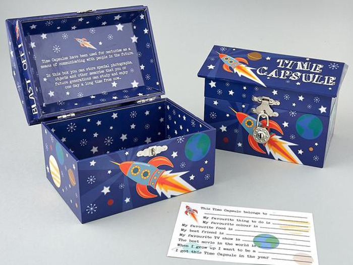 A space-themed keepsake box.