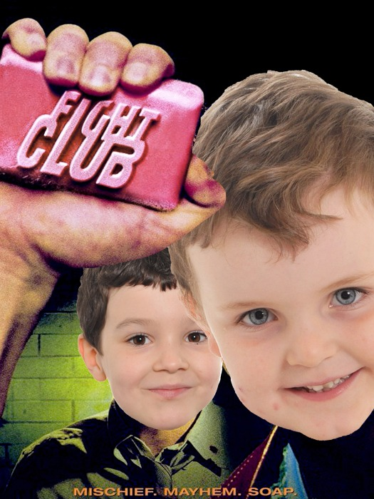 The poster for the film Fight Club, with two children replacing the actors.