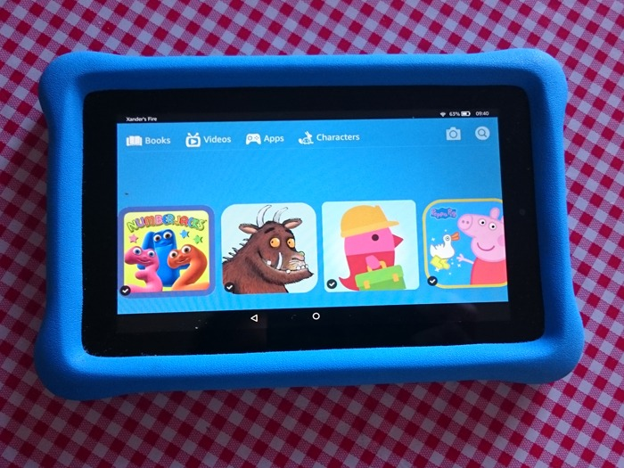 An Amazon Fire Kids Edition tablet.
