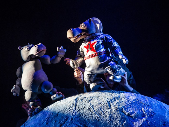 A production shot from The First Hippo on the Moon featuring two hippos on the moon.