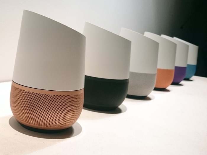 A line of Google Home smart speakers.