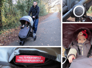 Four images showing the Graco Modes 3 Lite as well as some of its key features.