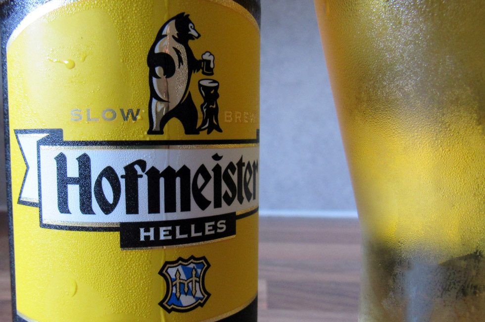 A bottle of Hofmeister.