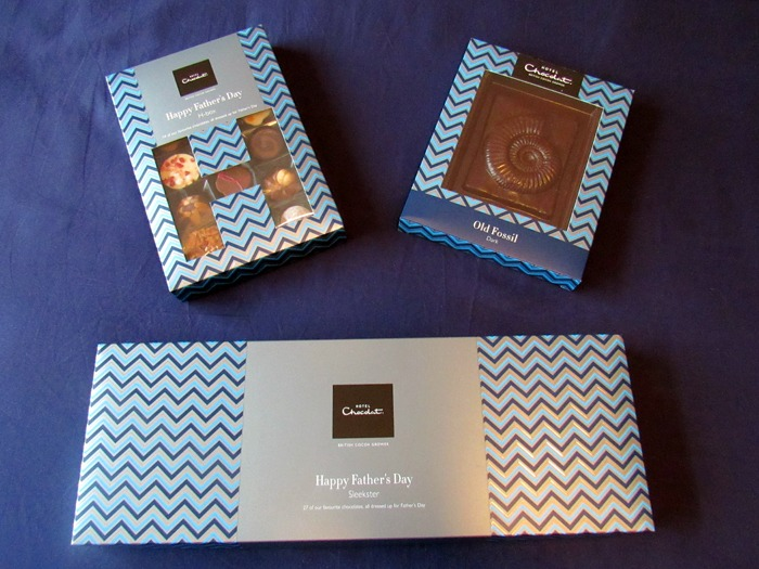 THree boxes of chocolates by Hotel Chocolat.