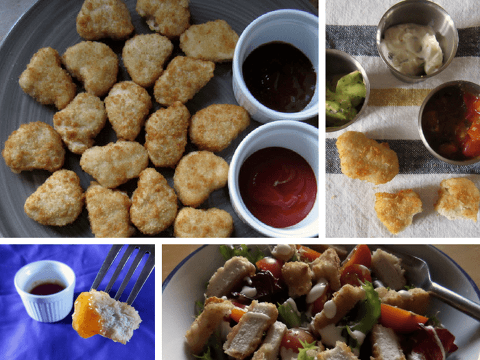 A collage of recipes involving chicken nuggets.