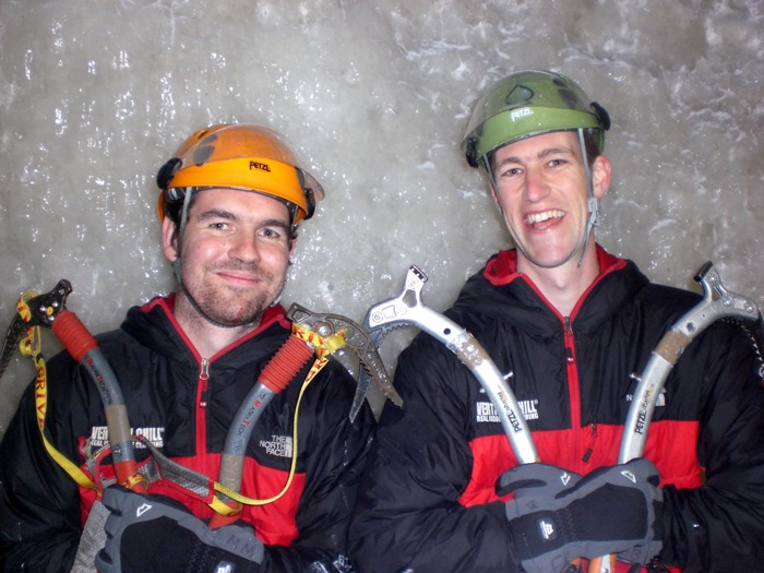 Two 'icemen' after conquering an ice wall.