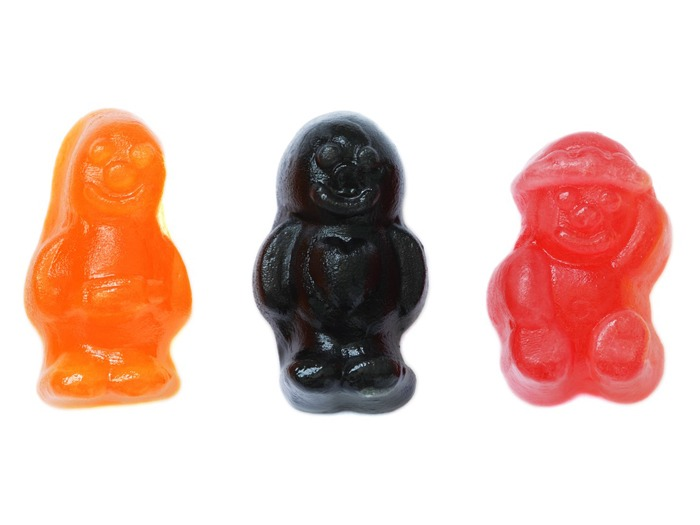Three different jelly babies sweets.