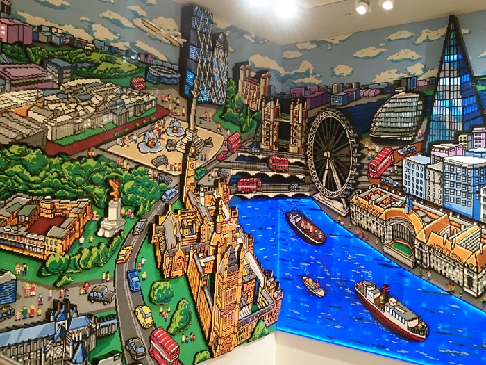 A mural of London landmarks made entirely of LEGO.