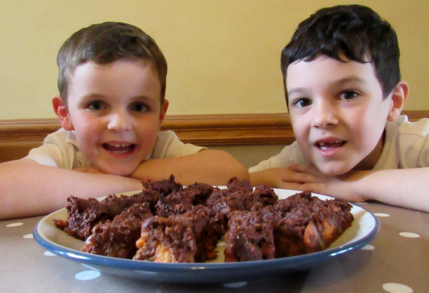 Two boys with a plate of chocolate brownies.