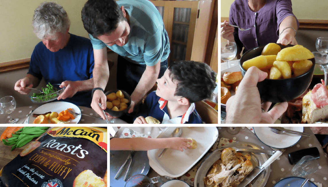 A selection of images showing a family enjoying Sunday lunch together.