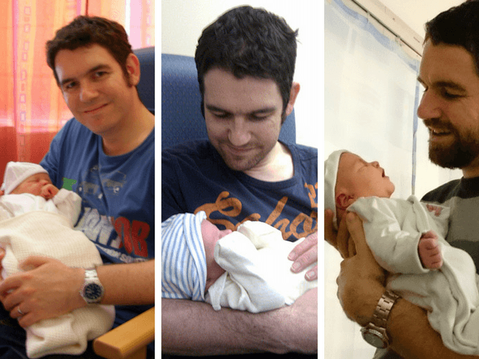 Three photos of a dad with his children as newborns. #ADadIsBorn