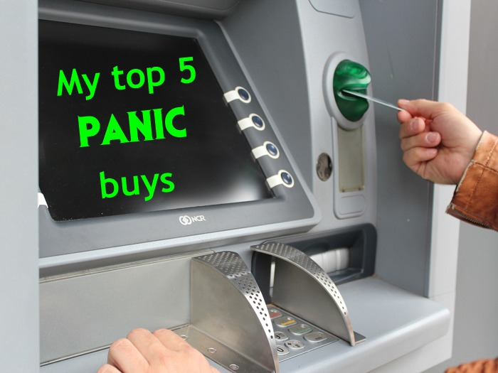 "A cash machine with the words ""my top five panic buys"" displayed on the screen."