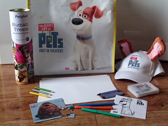 A selection of drawing materials and promotional items from The Secret Life of Pets film.