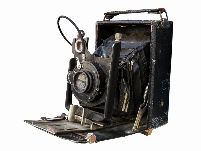 An old fashioned camera.