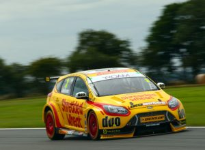 A photo of a Team Shredded Wheat car taking part in the British Touring Car Championship.