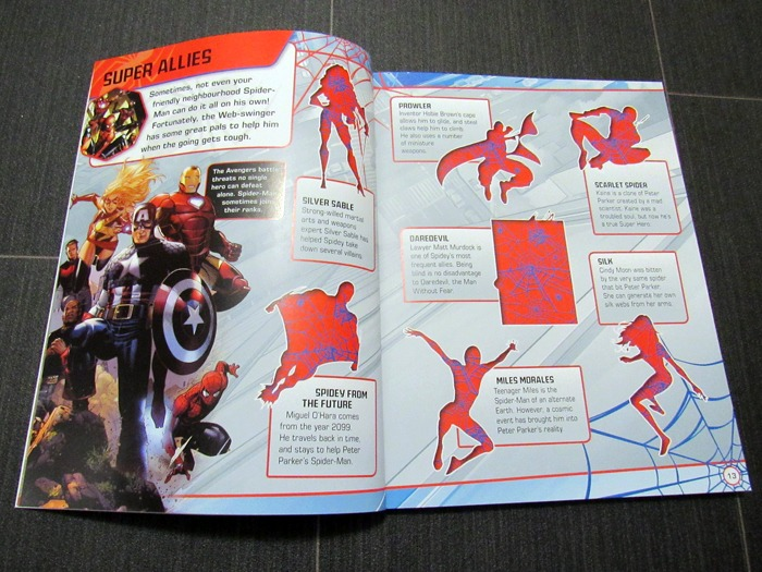 The inside of a Spider-Man sticker book.