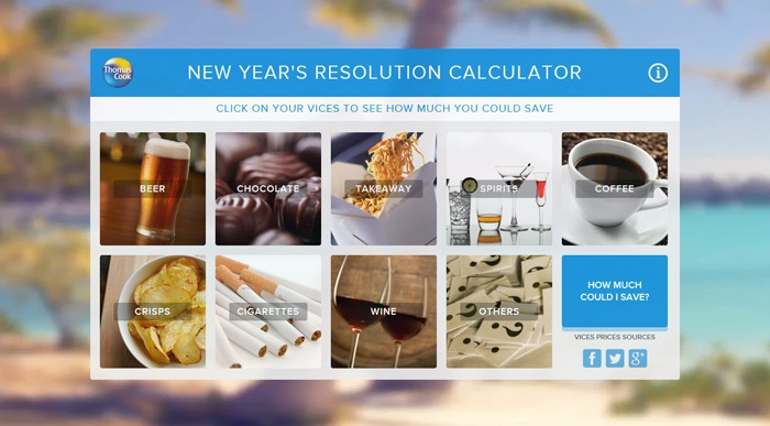 Thomas Cook's New Year's Resolution Calculator.