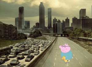 The original poster for The Walking Dead with Daddy Pig superimposed.