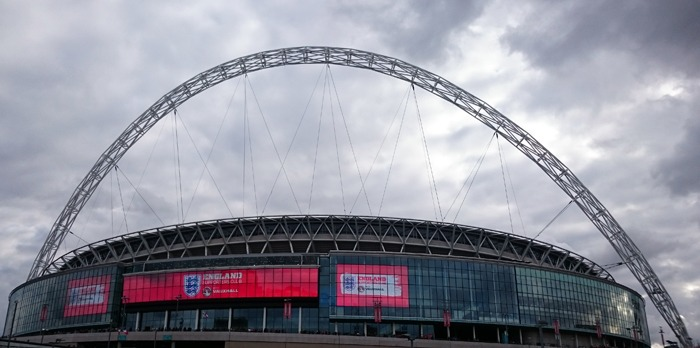 The outside of Wembley Stadium.