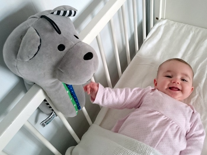 A happy baby girl in her cot with her Whisbear.