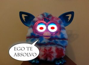 An edited image of a Furby speaking Latin