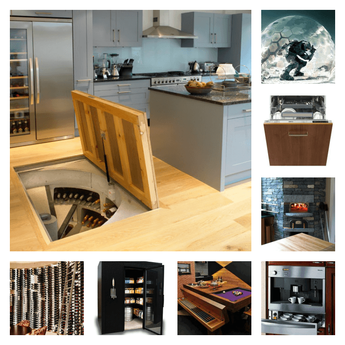 A collage of my ideal kitchen. It includes a forcefield, a pizza oven and a fridge bigger than most sheds.