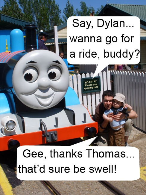 Image of Thomas the Tank Engine and a toddler talking to each other with American slang in the speech bubbles.