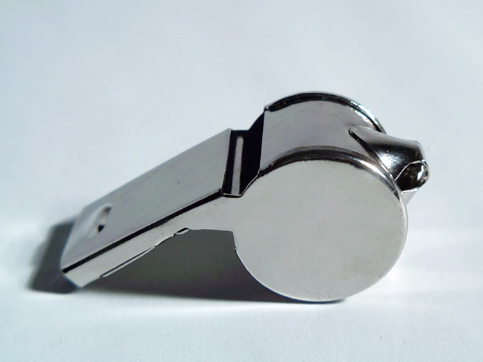 A silver whistle.