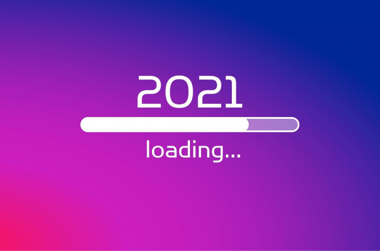 "A colourful background with an upload bar and the words ""2021 loading...""."