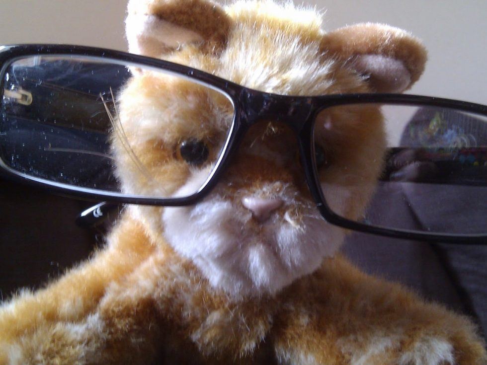 A toy cat wearing a pair of glasses.