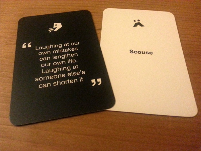 One card with a quote and another displaying an accent.