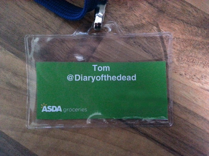 An ID badge for an event. It should say 'Diary of the Dad', but instead says 'Diary of the Dead'!
