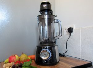 The Beko Vacuum Blender alongside some fruit and vegetables.