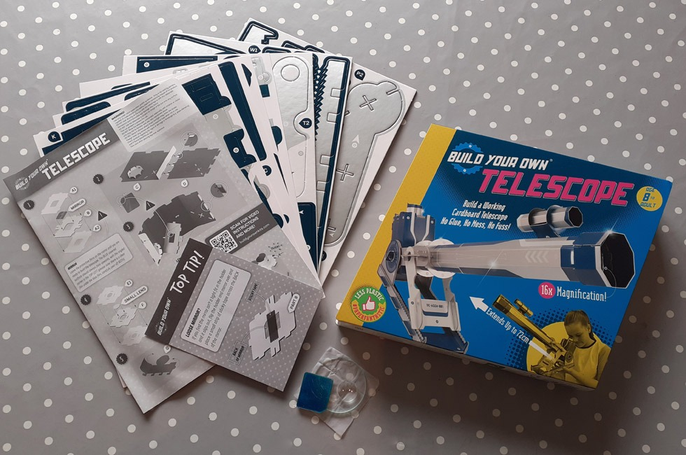 The contents of a Build Your Own telescope kit.