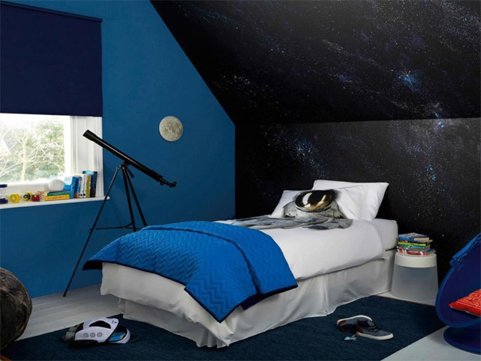 A child's bedroom decorated in a space theme.
