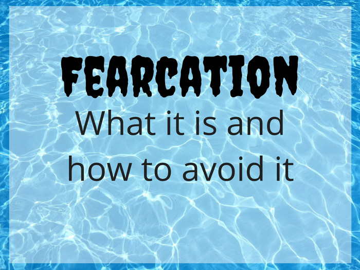 The surface of a swimming pool with the word 'Fearcation' superimposed.
